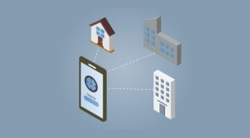 Illustration of Time & Attendance system digitally connecting to a home, office and factory